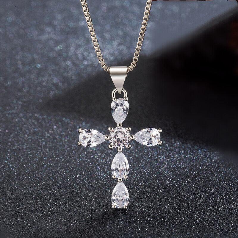 Jewellery - Cross Waterdrop Stone 925 Sterling Silver Pendant Chain Necklace Women Jewellery