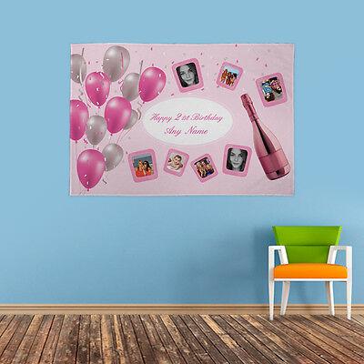personalisiert Geburtstagsparty Foto Banner Pink Luftballons Flagge & 4 Ösen