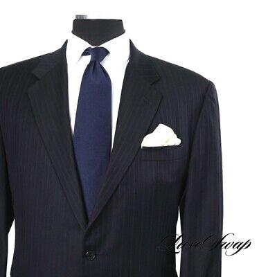 Hickey Freeman Made in USA Boardroom Loro Piana S130s Wool Navy Stripe Suit 46 R