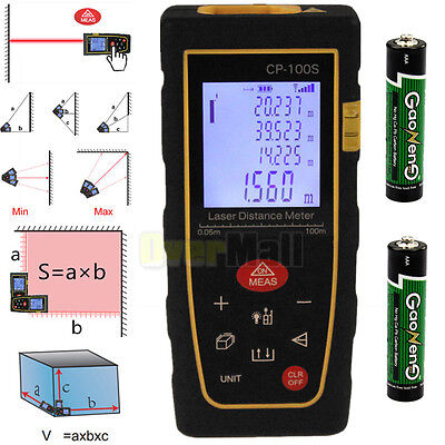 100M/328FT Digital LCD Laser Distance Meter Range Finder Measure Diastimeter USA
