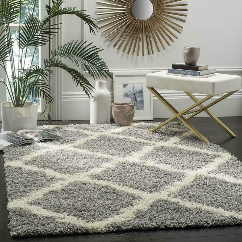 Safavieh Dallas Shag Collection Sgd257G Grey And Ivory Area