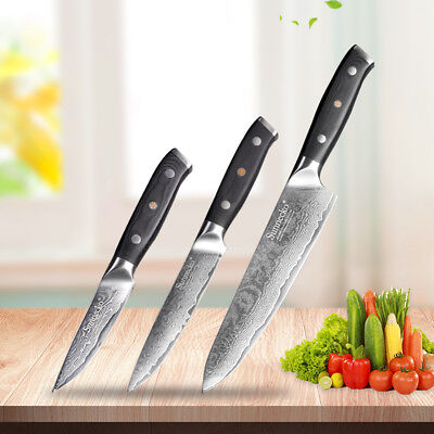 Damascus Chef's Knife Set 8 5 3.5 Japanese VG10 Steel Razor Sharp Pro Kitchen