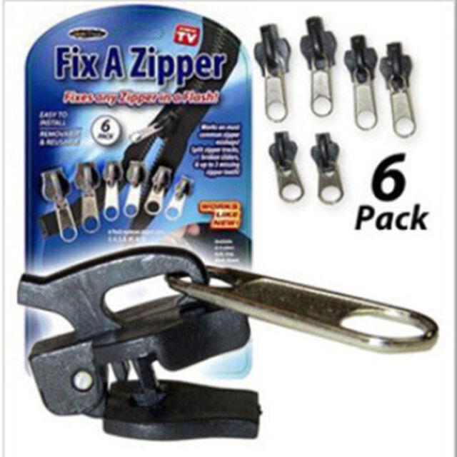 Removable 6Pcs Fix A Zipper Zip Slider Rescue Instant Repair Kit Replacement