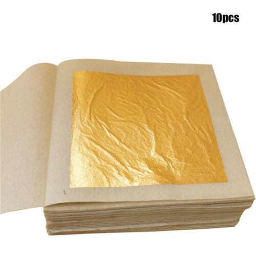 10Pcs 24K 4.33x4.33cm Pure Genuine Edible Gold Leaf Foil Sheet Decor