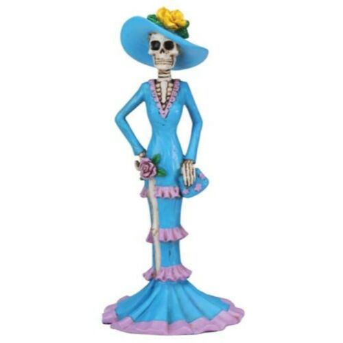 NEW! Day of the Dead Blue Senorita in Hat Figurine DOD Collectible 7890