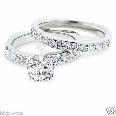 1 50 Ct Diamond Solitaire Bridal Set Engagement Ring 10K White Gold Free Sizing