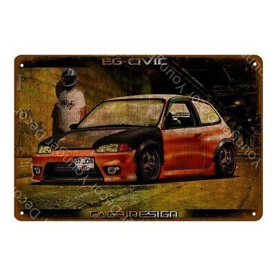 Honda Civic Boyracer Metal Poster Car Garage Decoration Tin Sign 8 x 12in