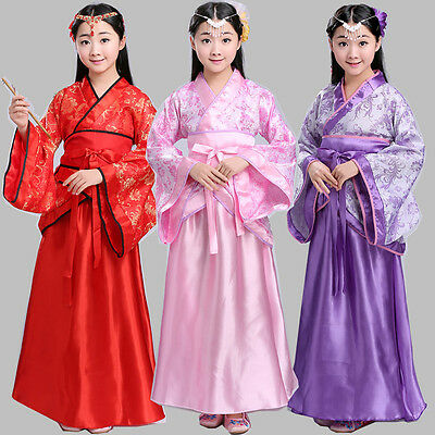 Kids Chinese Costumes (New Chinese Kids Tang Dynasty Ruqun Hanfu Suit Cosplay Gown Girls Dress)