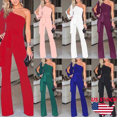 (US Women Summer Party Clubwear Playsuit Jumpsuit One Shoulder Long Trousers Pant)