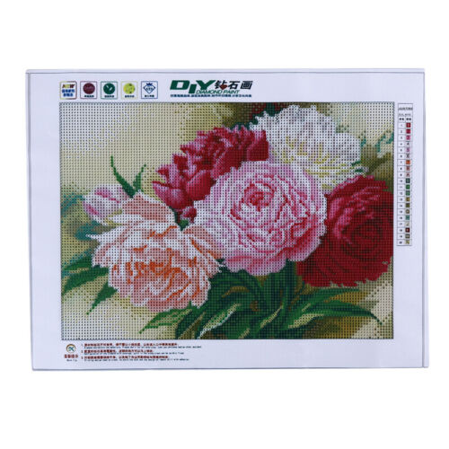 5D DIY Full Drill Diamond Painting Pink Flowers Cross Stitch Embroidery Kit #Cu3
