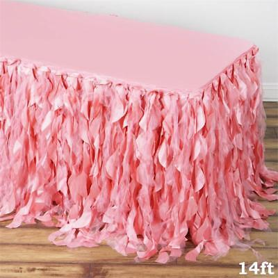 14 ft Rose Quartz Pink CURLY TAFFETA TABLE SKIRT Wedding Party Catering Banquet - Pink Table Skirt