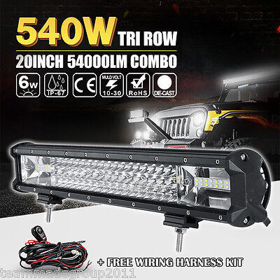 20INCH 540W TRI ROW CREE LED LIGHT BAR WORK LAMP SPOT FLOOD OFF-ROAD 4WD CAR 22