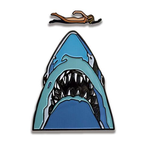 Jaws Movie Midnight Swim Shark 2 Piece Enamel Metal Logo Pin