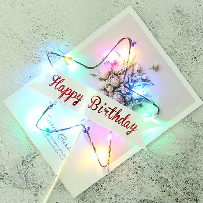 LED Cake Inserts Card Cupcake Star Cake Decor Topper Party Birthday Supplies New