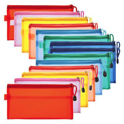 14pcs File Bags Folders Zipper Pouch Plastic Double Layer Confidential Document