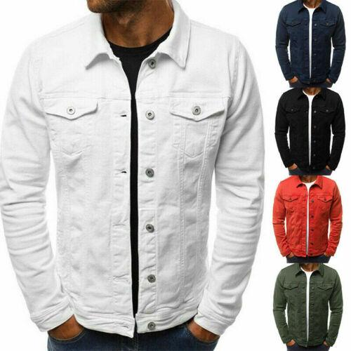 New Men's Denim Jean Jacket Coat Pocket Casual Long Sleeve S