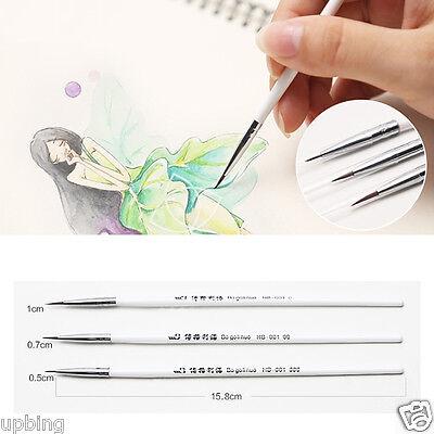 3pcs Weasel's Hair Brush Pen Nail Art Strokes Watercolor Paint Oil Painting
