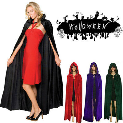 Halloween Party Witch Velvet Cloak Adult Hooded Cape Wedding Robe Costume - Witch Robe