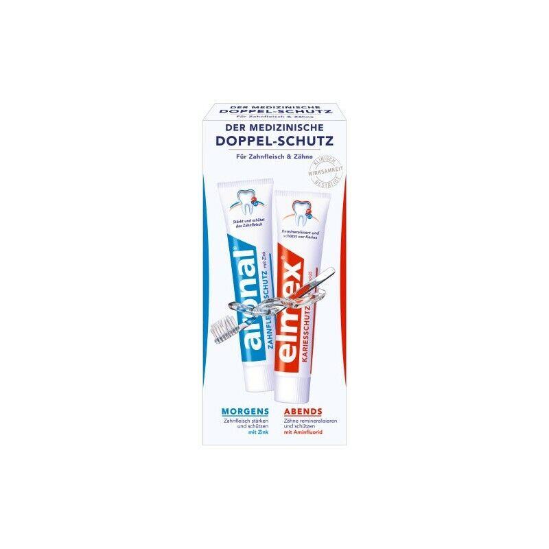 aronal und elmex Mundhygiene Set 2x 75ml Zahncreme, Doppel-Schutz Zahnpasta