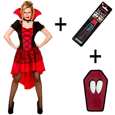 Ladies Glamorous Vampire Fancy Dress Vampiress Halloween Costume + Fangs + Blood