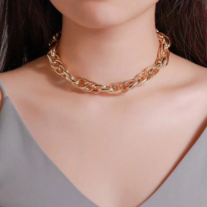 Women Gold Plated Chunky Link Chain Necklace Choker N181 Fashion Jewelry