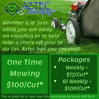 Looking for regular or vacation mowing? Call Aztec today!
