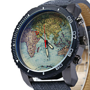 World Map Pattern Quartz Watch with Canvas + Leather Strap NEW