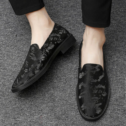 Details about  /Chic Mens Low Top Shiny Real Leather Loafers Shoes Slip on Pointy Toe Nightclub