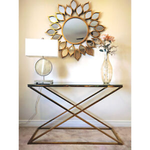 Brand New Modern Zig Zag Console Table - Chrome or Golden