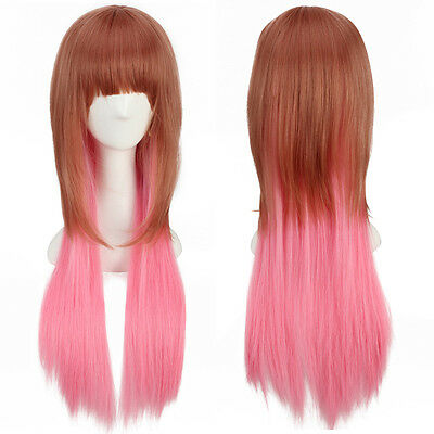 Straight Long Hair Gradient Wig Ombre Wavy Red Brown to Pink for Cosplay Costume
