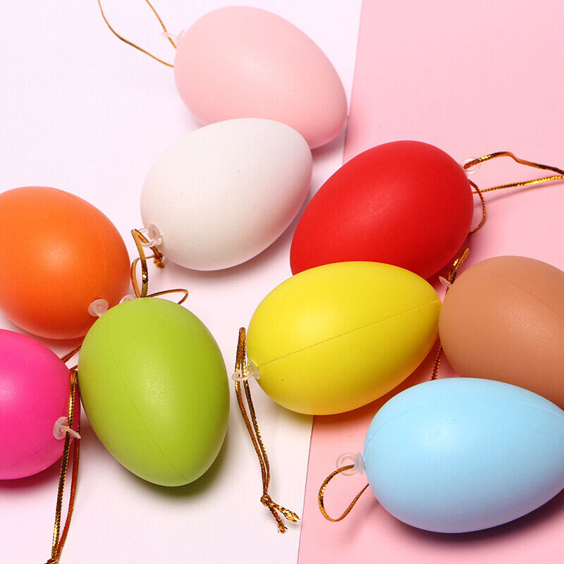 12pcs Easter Painting Eggs Hanging Ornaments Kids Toy Simulation DIY Craft Decor