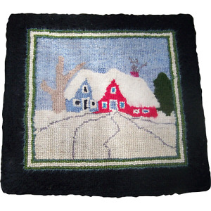 Vintage Hand Hooked Mat Scenic House Tree Scene Lunenburg County