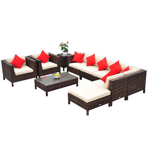 9pc Rattan wicker Furniture Lounger Set Sectional Sofa Table Cha