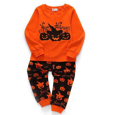 Hallowen Pumpkin Cloth Baby Kids Toddler Boys Sleepwear Long Sleeve Pajamas Set ](Hallowen Clothes)