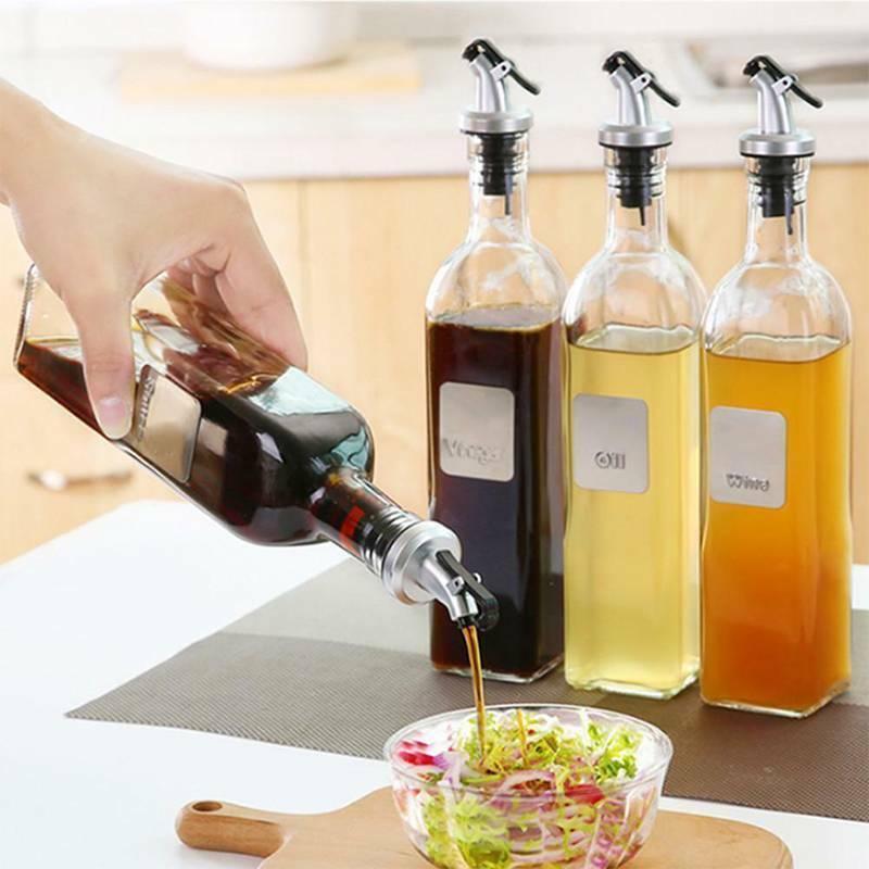 Glass Olive Oil Vinegar Dispenser Cruet Seasoning Bottle Pou