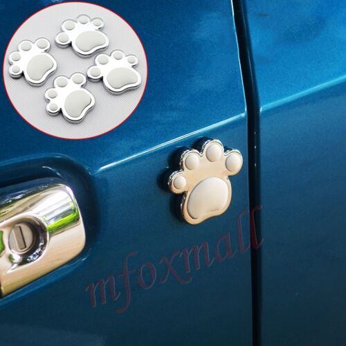 4X Car Door Edge Anti-rub Scratch Protector Guard Silver Animal Footprint Parts