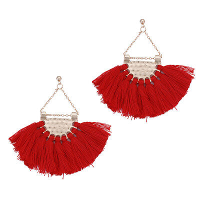 (Women Ethnic Bohemia Boho Fan-shaped Tassel Fringe Dangle Drop Ear Stud Earrings)