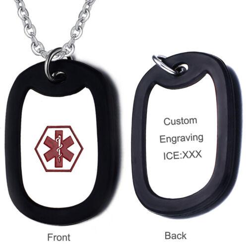 Men Medical Alert ID Name Dog Tag Pendant Necklace Personali