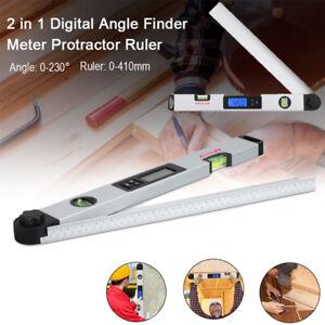 230° Digital Angle Finder Protractor Inclinometer 410mm Ruler Spirit Level Gauge
