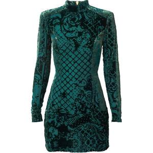 BALMAIN x H&M Green Velvet Silk-Blend Dress SIZE2 West Island Greater Montréal image 1
