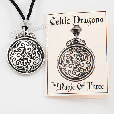 TRIPLE THREE DRAGON Necklace CELTIC KNOT WORK Amulet Protection KnotWork Pendant