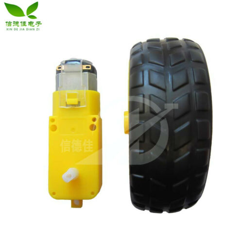 2pcs Intelligent Trolley Chassis Robot Tire + Dc Geared Motor