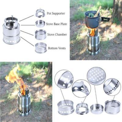 Outdoor Wood Gas Backpacking Emergency Survival Burning Camping Stove Portable