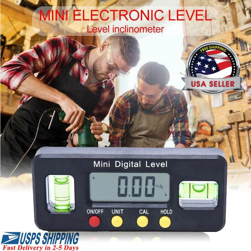 4*90° Protractor Angle Finder Bevel Gauge Magnet Digital Inclinometer Level Box