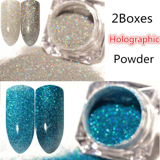 2 Boxes Holographic Holo Laser Glitter Powder Dust Nail Art Manicure ...
