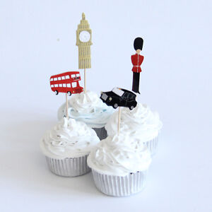 London Themed Cake Picks /Flags Party Cupcake Decorations X 12 Bus Taxi Big Ben