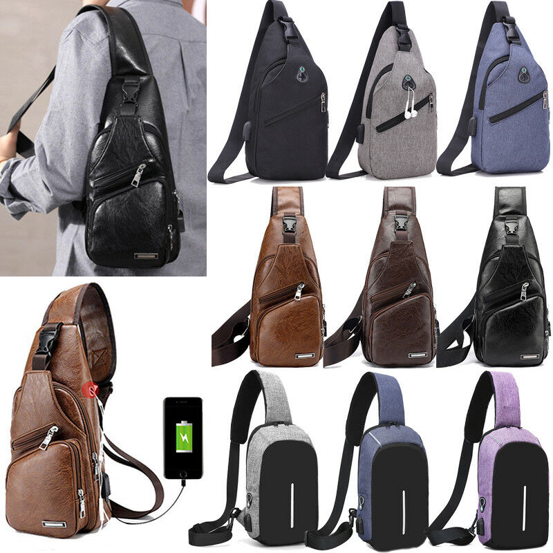 Men Sling Shoulder Bags USB Charging Chest Pack Small Crossb