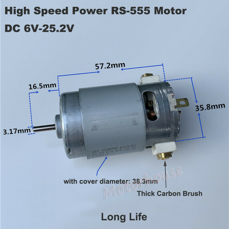 NEW Compensated carbon brush DC12V-24V High torque long life Micro DC motor