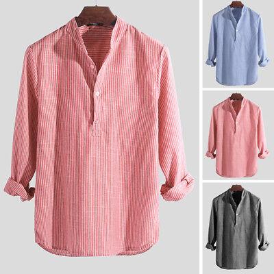 INCERUN Mens Vintage Striped Shirt Grandad Collarless Button Down Causal Top Tee