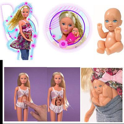 Puppe Steffi Love schwanger mit Baby im Bauch Rollen Spiel NEU